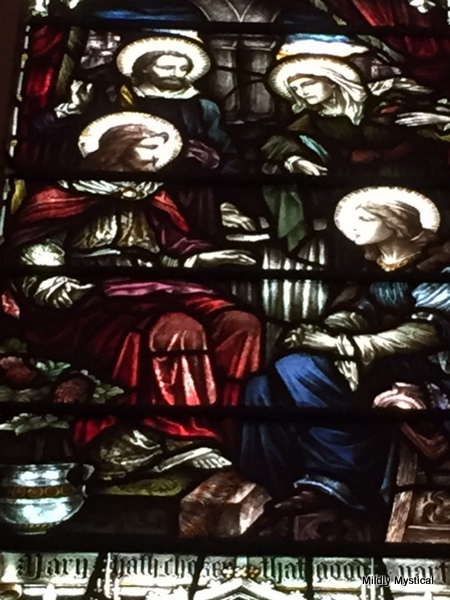 Mary and Martha in stained glass, St. Patrick's, Dublin